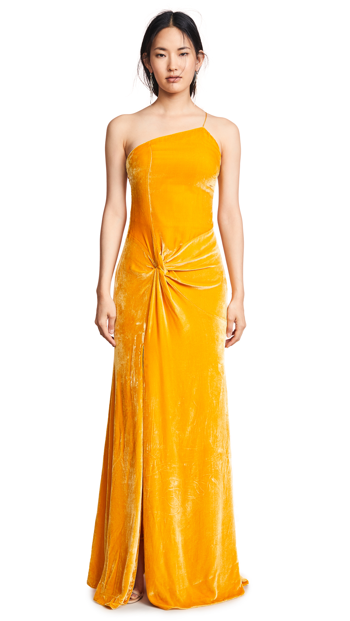 Liza One-Shoulder Knot-Front Gown in Sunflower