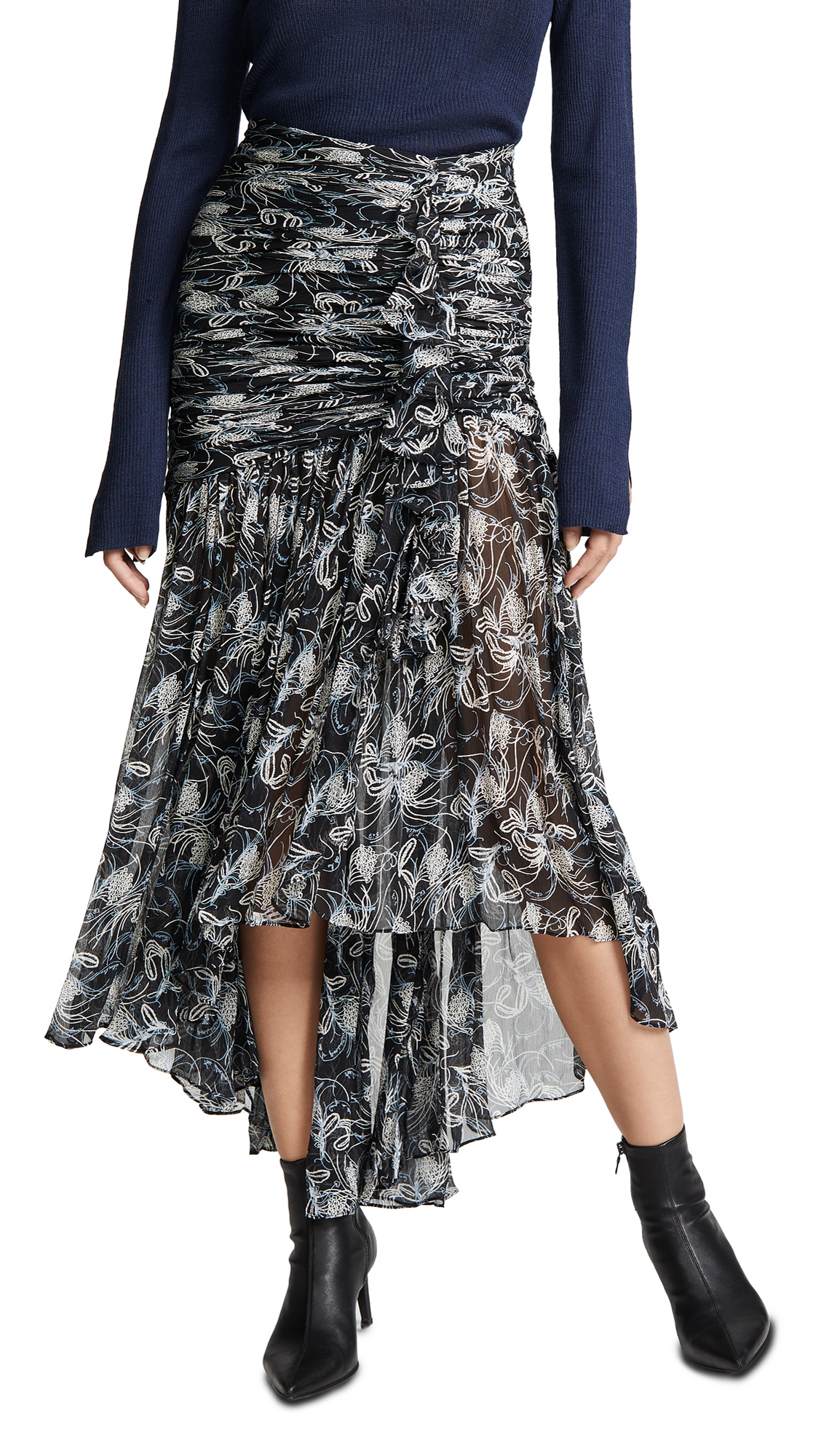 Cinq a Sept Kathleen Skirt In Black/Multi