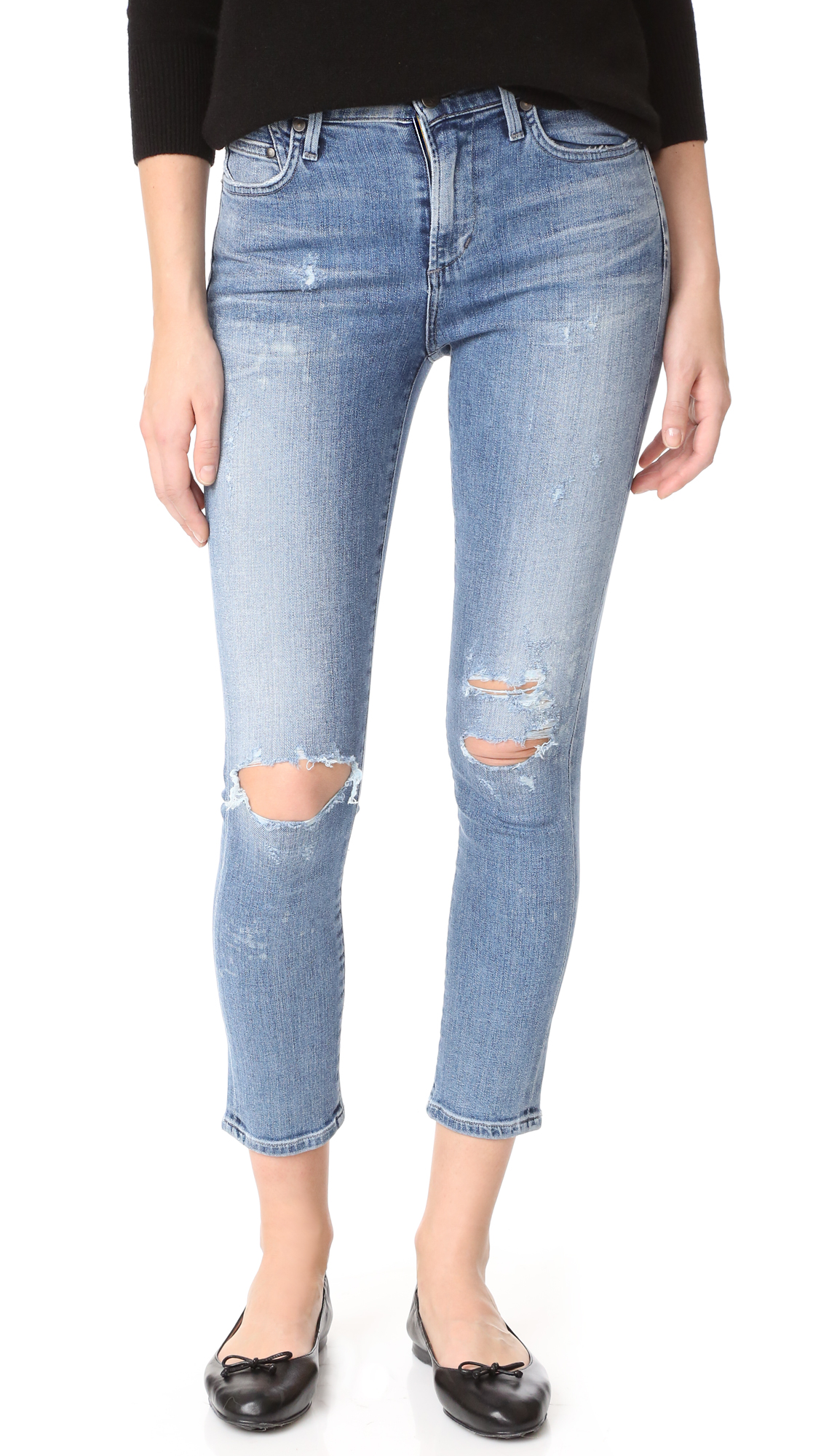 Citizens of Humanity Crop Rocket High Rise Jeans - Distressed Fizzle
