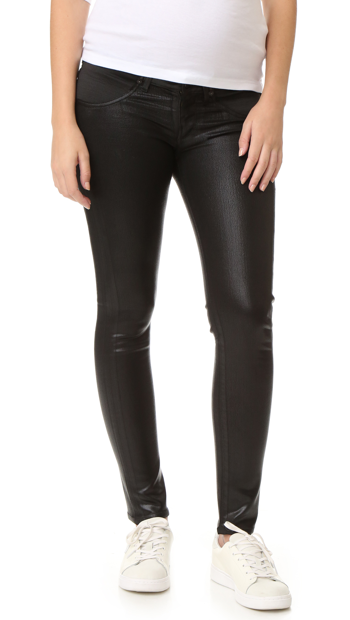 Citizens of Humanity Racer Skinny Maternity Jeans - Black Leatherette