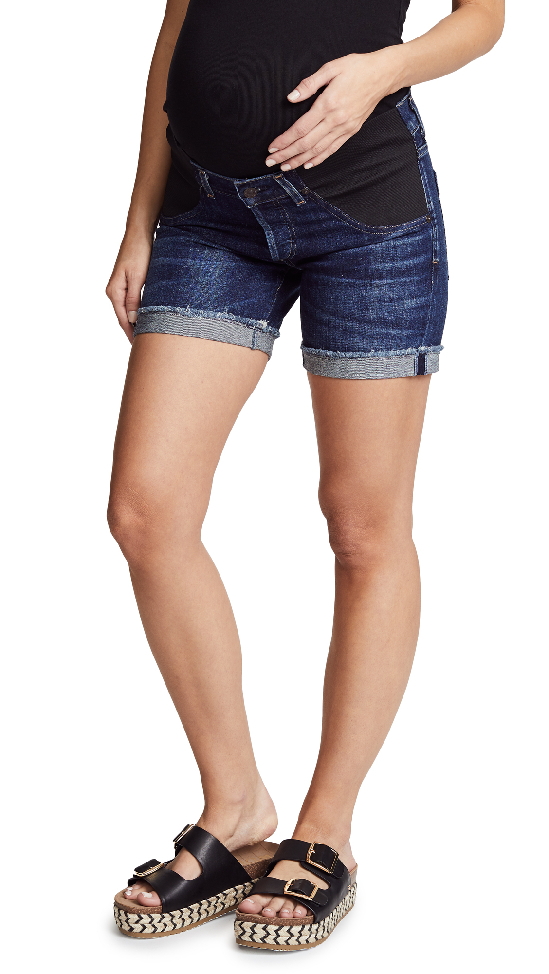 Citizens of Humanity Skyler Loose Maternity Shorts In Blue Ridge