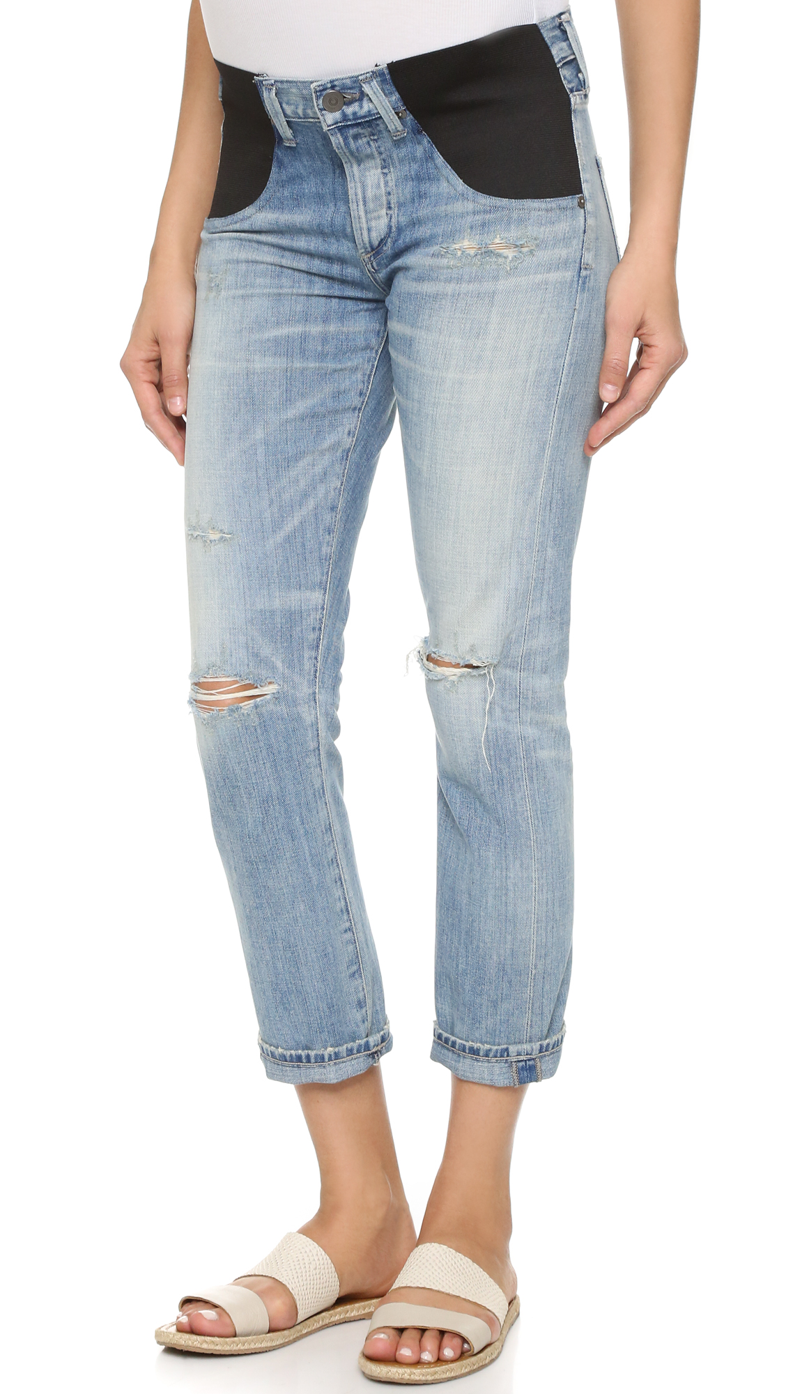 Citizens Of Humanity Emerson Maternity Slim Boyfriend Jeans - Distressed Sebring