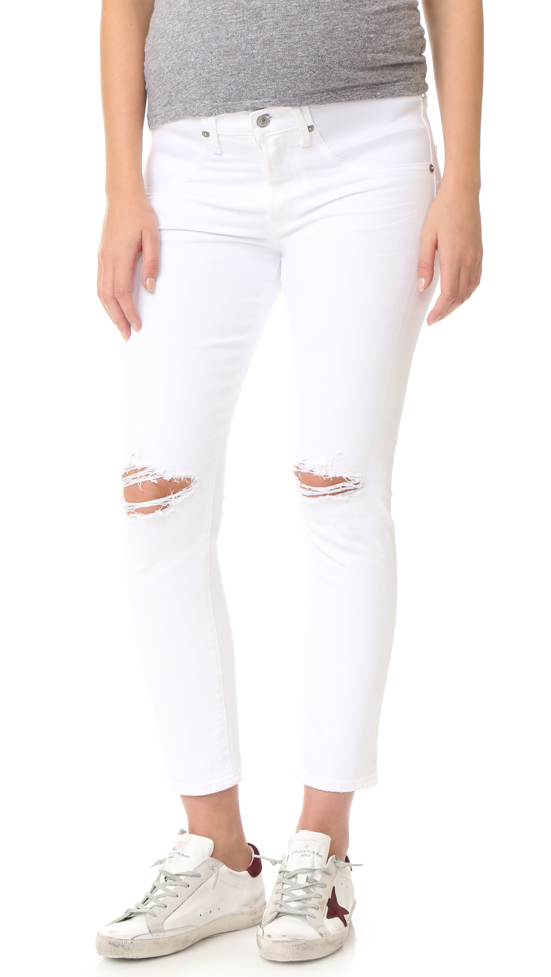 Citizens Of Humanity The Maternity Principle Girlfriend Jeans - Wrecked White at Shopbop