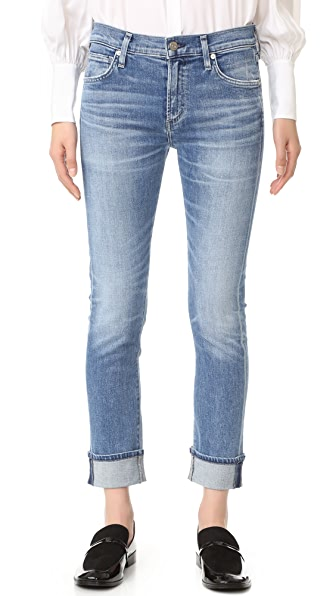 Citizens of Humanity Jazmin Ankle Cuffed Slim Straight Jeans - Pacifica