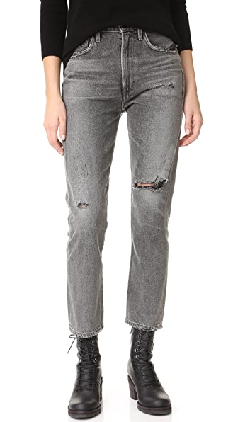 Citizens of Humanity Dree Crop High Rise Slim Straight Jeans - Disrupt