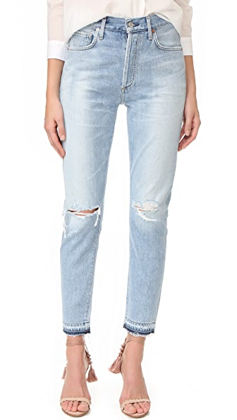 Citizens of Humanity Liya High Rise Classic Fit Jeans - Torn