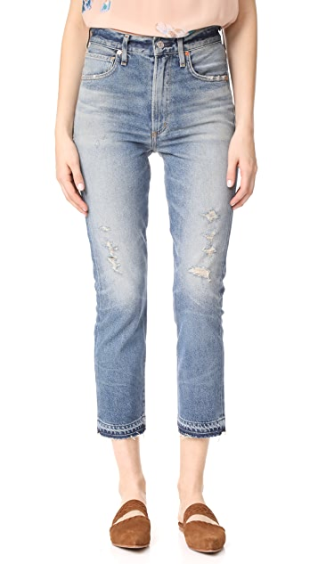 Citizens of Humanity Dree Crop High Rise Slim Straight Jeans