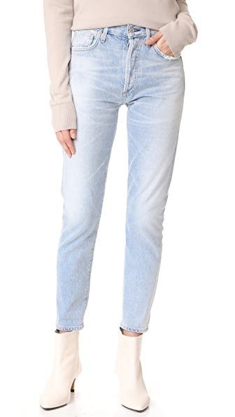 Citizens of Humanity Liya High Rise Classic Fit Crop Jeans In Rock On