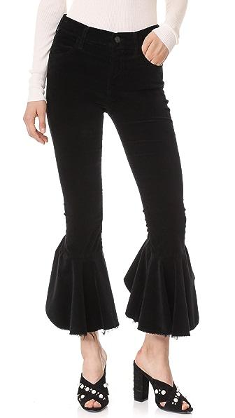 Citizens of Humanity Velvet Drew Flounce Pants - Velvet Noir