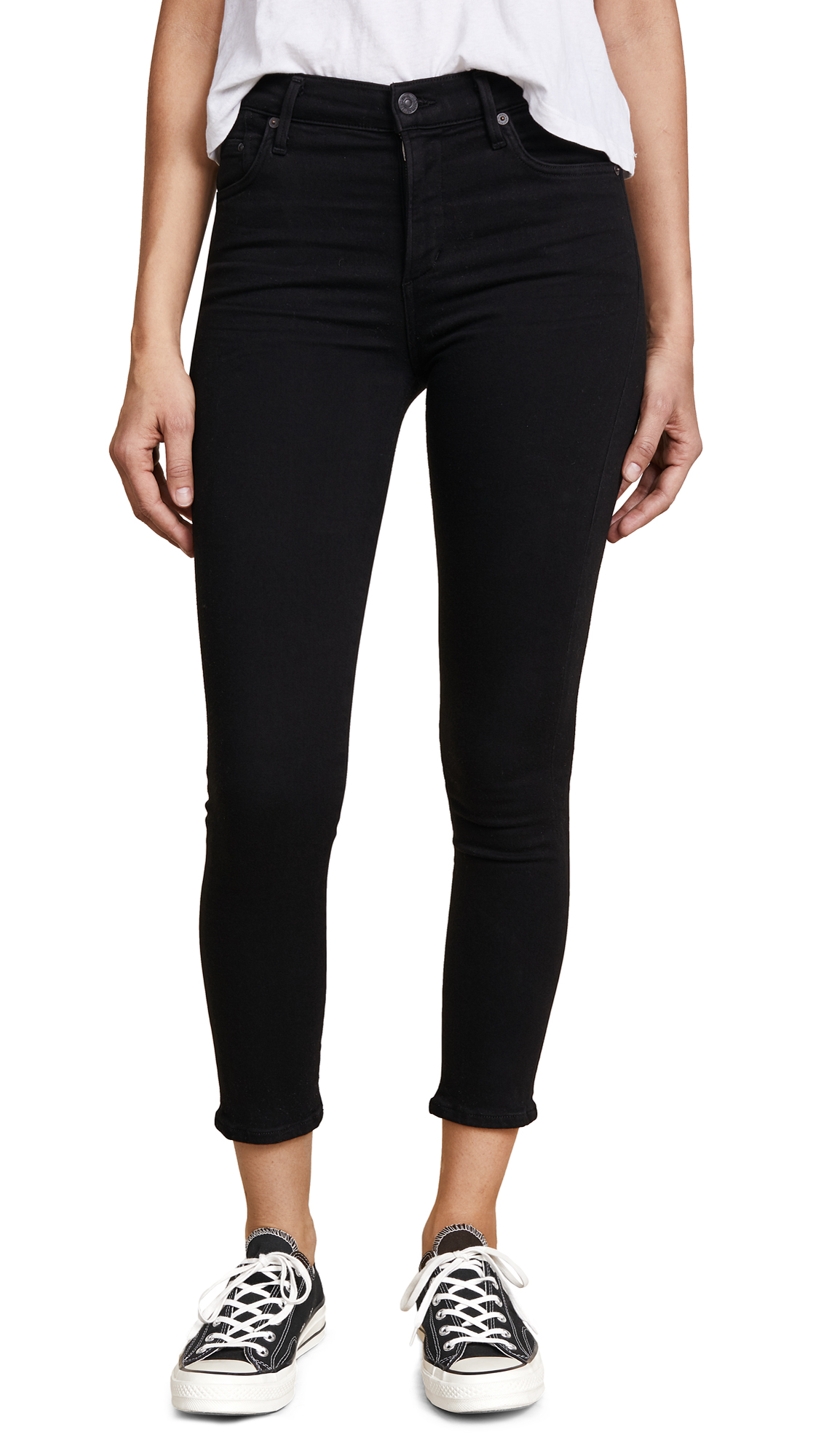 Citizens of Humanity Rocket Crop High Rise Skinny Jeans - All Black