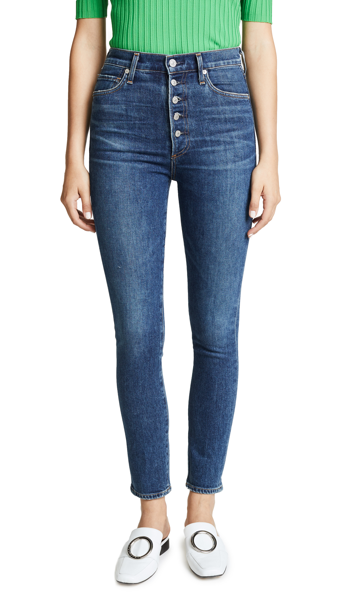 Olivia High-Rise Skinny Jeans With Exposed Button Fly in Circa