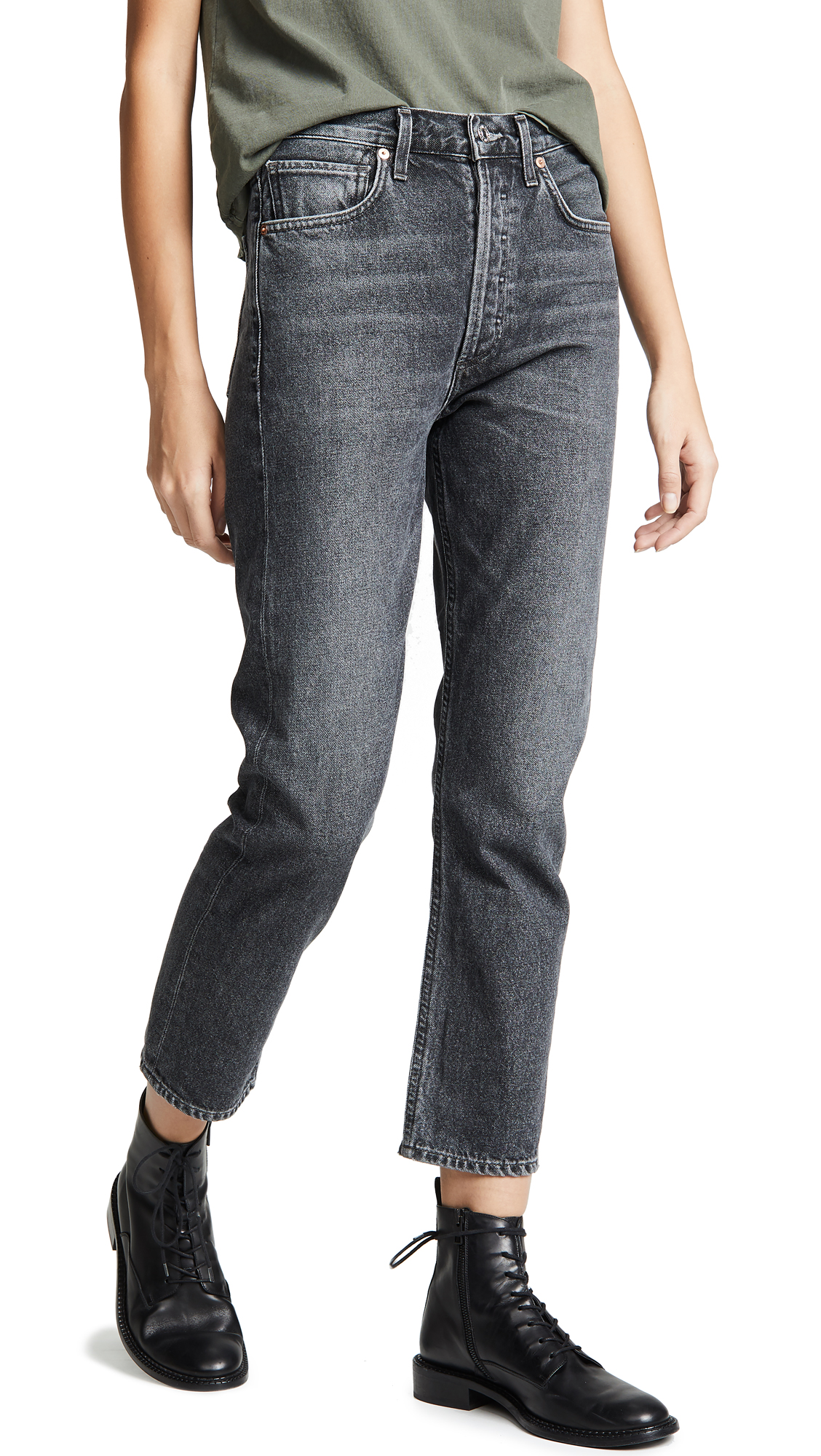 Citizens of Humanity Charlotte Crop High Rise Straight Jeans - Infinity