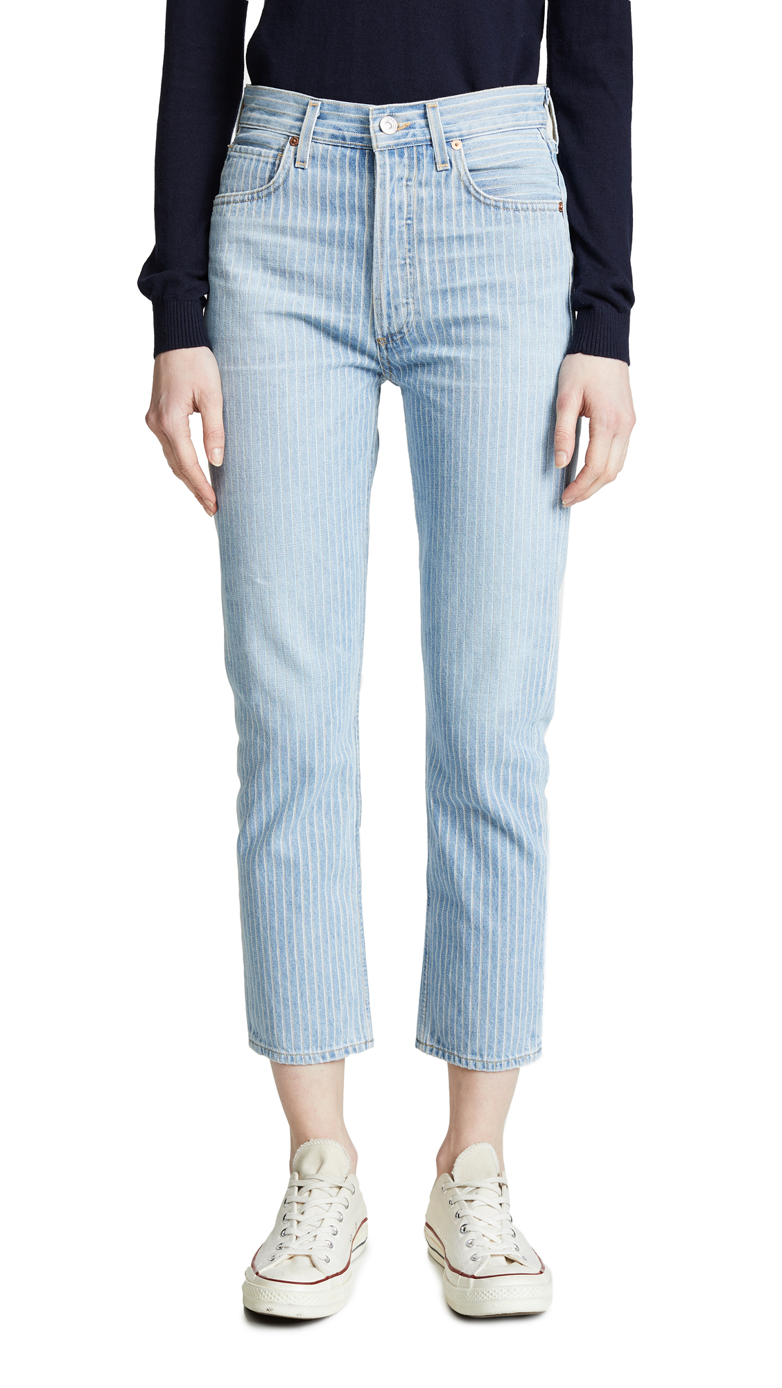 Citizens of Humanity Charlotte Crop High Rise Straight Jeans - Laguna Stripe