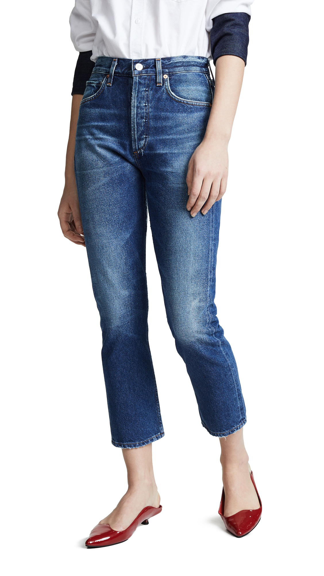Citizens of Humanity Charlotte Crop High Rise Straight Jeans - Wish