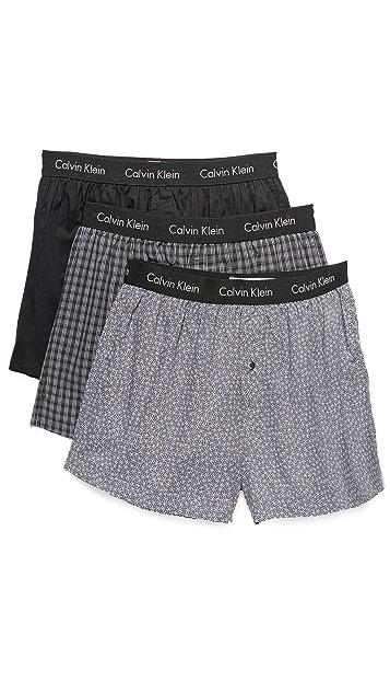 Calvin Klein Underwear 3 Pack Slim Fit Woven Boxers