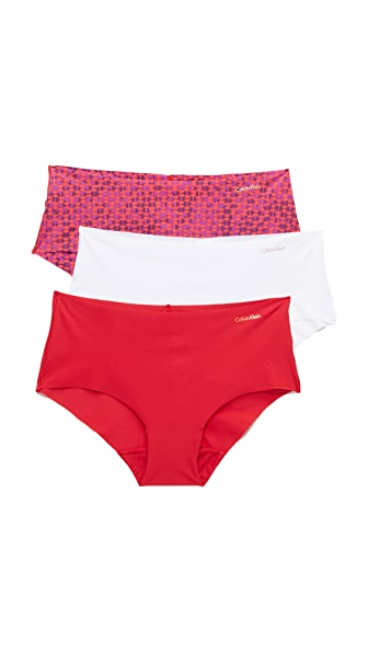 Calvin Klein Underwear Invisibles Hipster Briefs 3 Pack - Frosted Geo/White/Regal Red