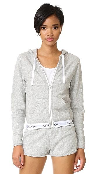 Calvin Klein Underwear Современная хлопковая толстовка с капюшоном на молнии во всю длину.