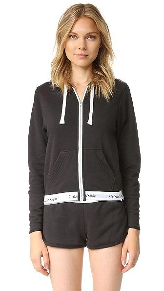 Calvin Klein Underwear Modern Cotton Full Zip Hoodie - Black