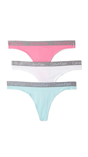 Calvin Klein Underwear Radiant Cotton Thongs 3 Pack
