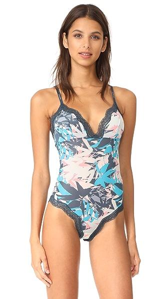 Calvin Klein Underwear CK ID Sheer Marg Lace Bodysuit In Sublime Print