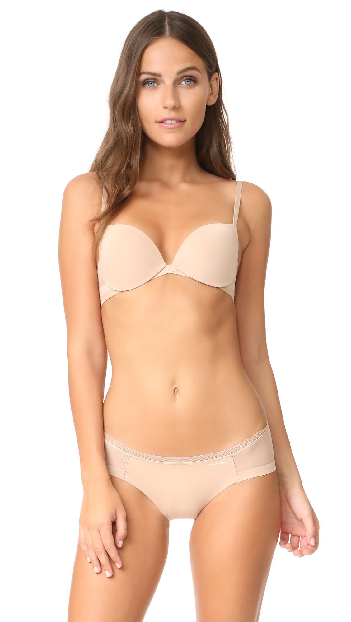 288c860b21079 Calvin Klein Underwear Sculpted Plunge Push Up Bra In Bare ...