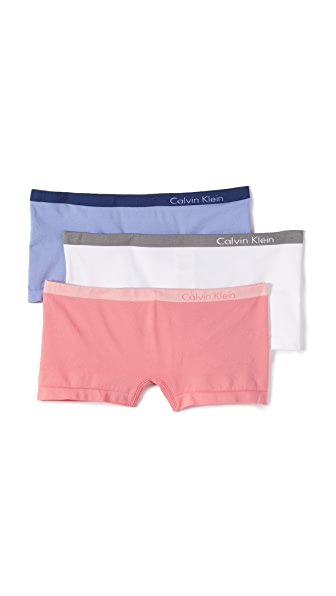 Calvin Klein Underwear Pure Seamless Boy Shorts 3 Pack - Ephemeral/White/Sensation