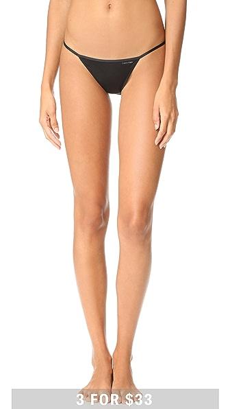 Calvin Klein Underwear Sleek String Bikini Panties In Black