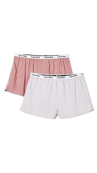 Calvin Klein Underwear Carousel 2 Pack Shorts In Winter Mist/Rosalie