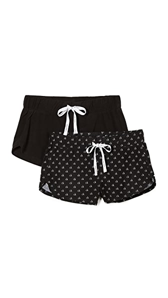 Calvin Klein Underwear Comfort Fleece 2 Pack Shorts In Black/Black