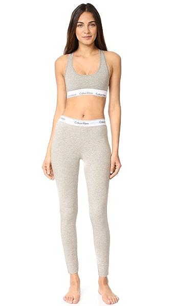 Calvin Klein Underwear Современный хлопковый комплект из бюстгальтера без косточек и леггинсов