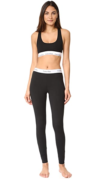 Calvin Klein Underwear Modern Cotton Bralette & Leggings Set - Black