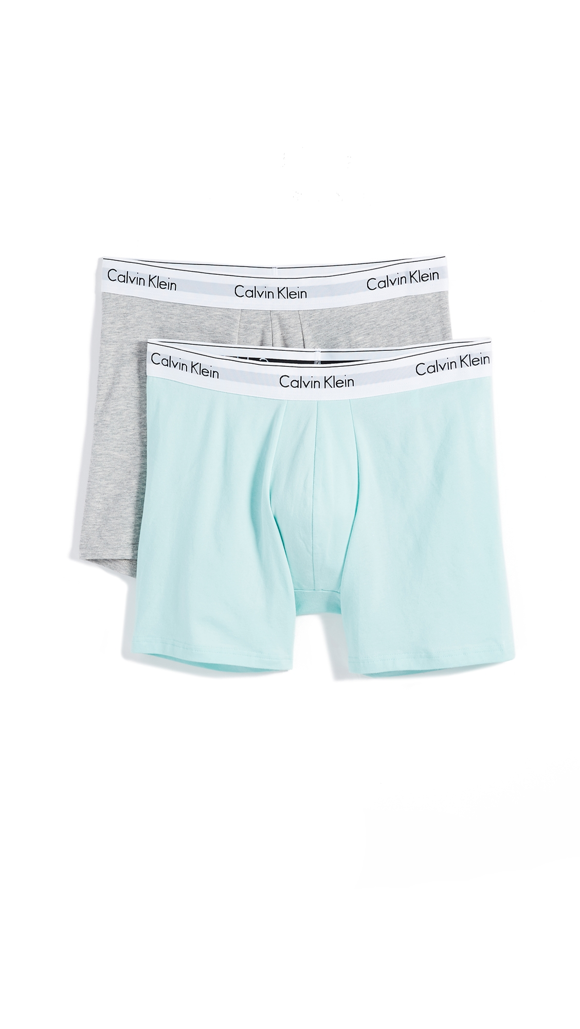 837afe097a Calvin Klein Underwear Modern Cotton Stretch 2 Pack Boxer Briefs In  Keppel Heather Grey