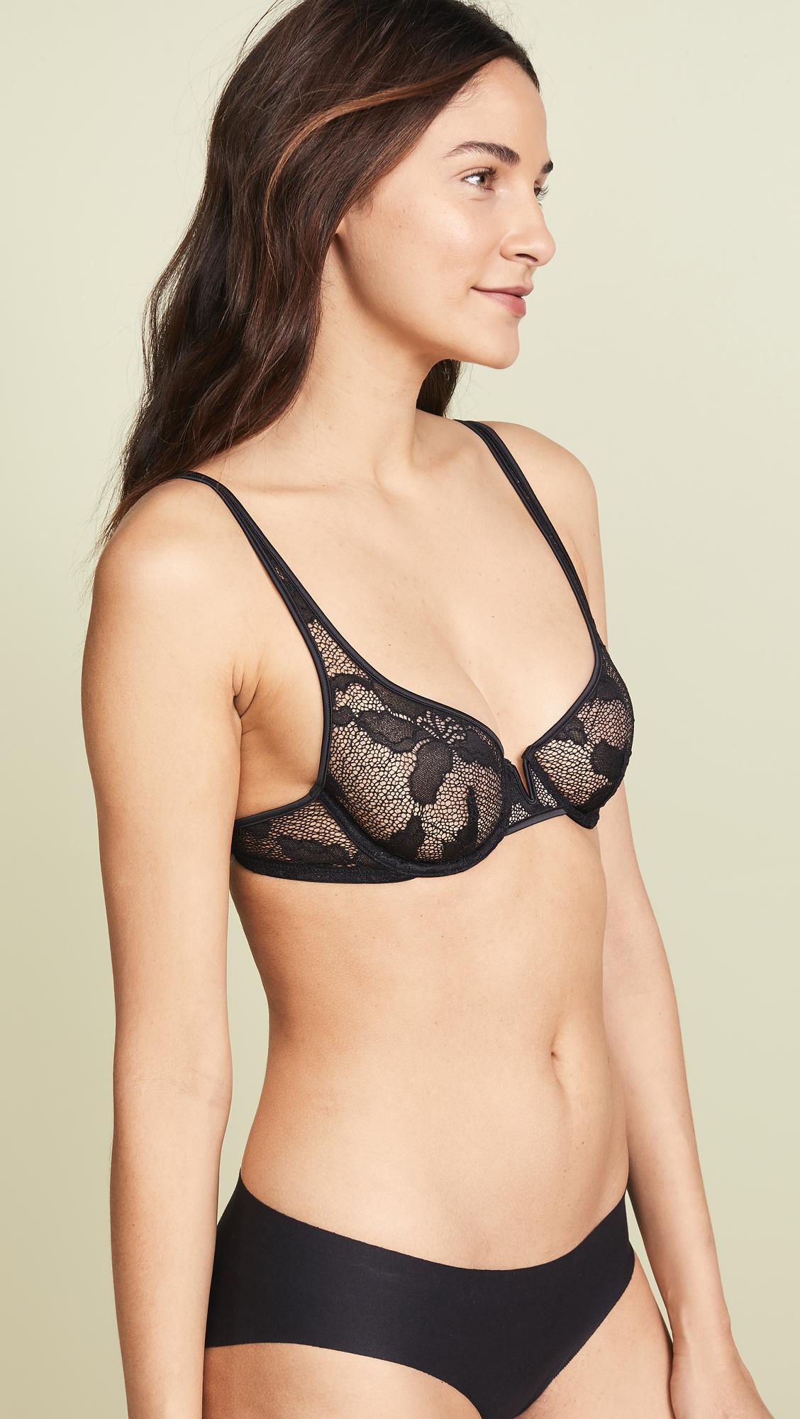 f93310e7672 Calvin Klein Underwear CK Black Lily Lace Unlined Balconette Bra ...
