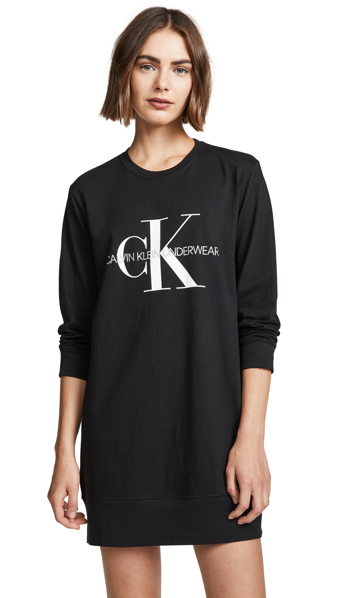 Calvin Klein Underwear Monogram Lounge Nightshirt In Black