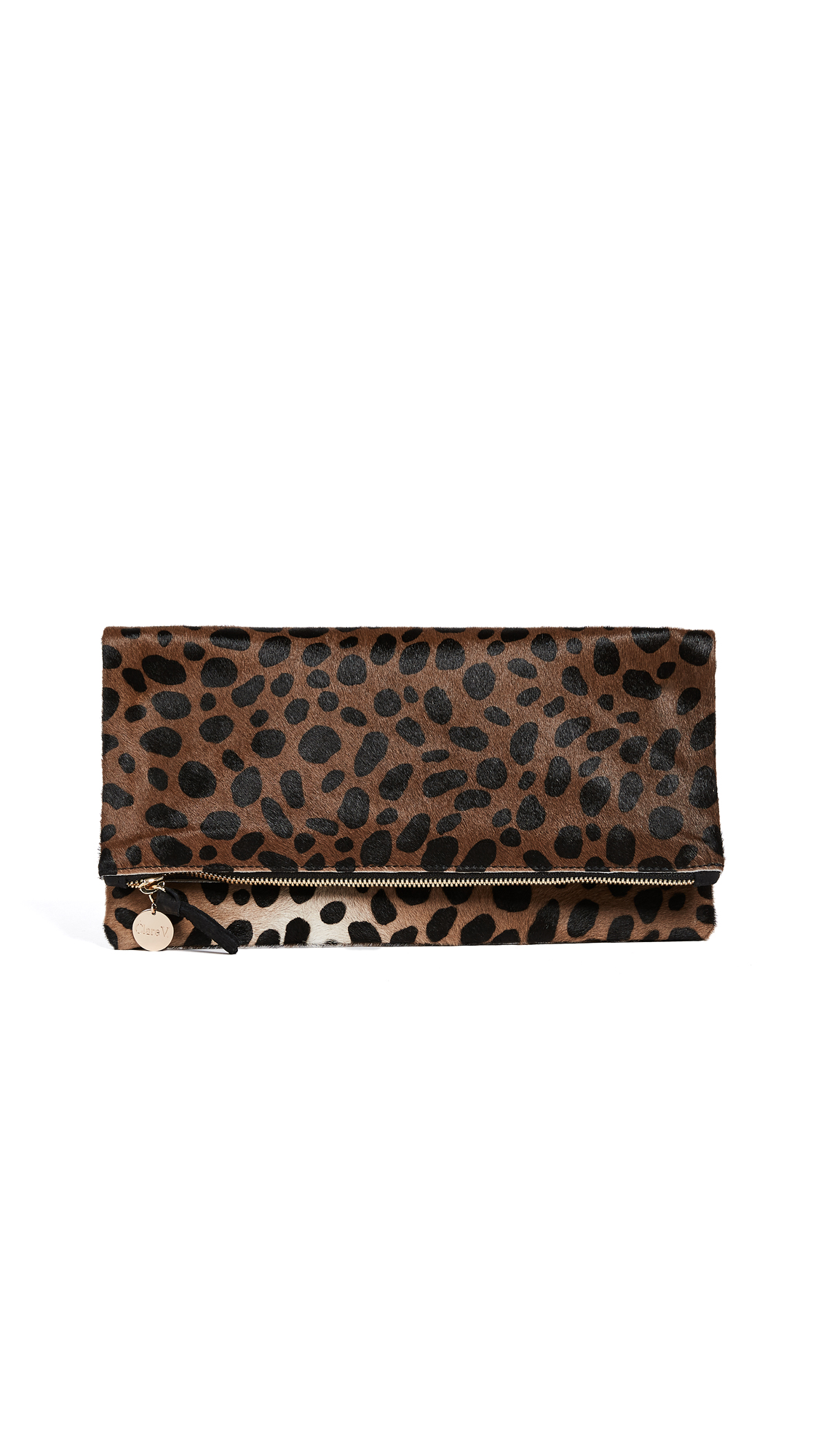 Clare V. Supreme Haircalf Fold Over Clutch - Leopard