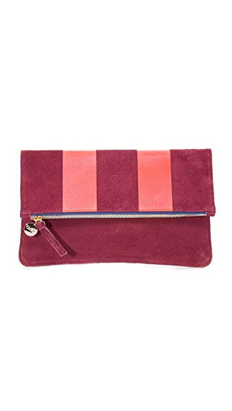 Clare V. Margot Foldover Supreme Clutch - Oxblood/Red