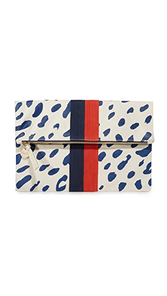 Clare V. Canvas Foldover Clutch - Natural/Navy Jaguar