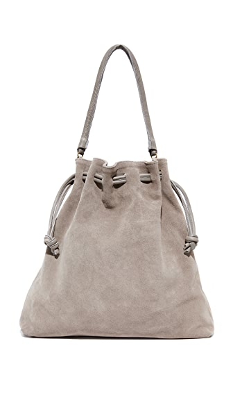 Clare V. Grand Henri Drawstring Bag In Dark Grey