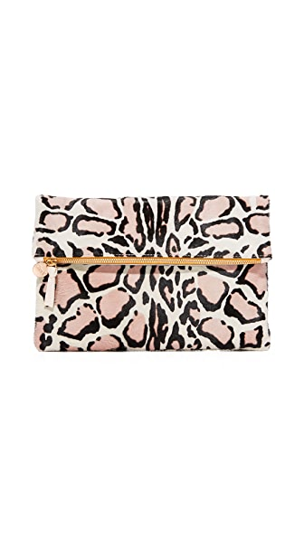 Clare V. Haircalf Fold Over Clutch - Snow Cat