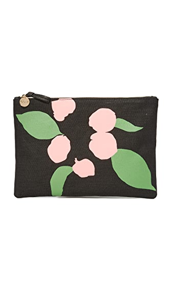 Clare V. Flat Canvas Clutch - Black/Pink