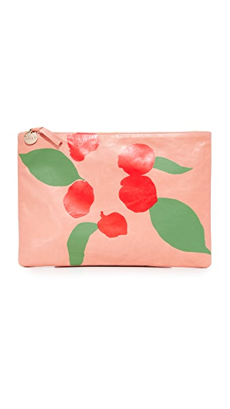 Clare V. Supreme Flat Clutch - Salmon/Poppy