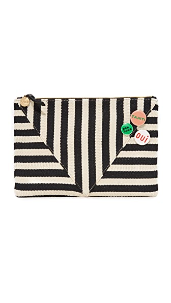 Clare V. Patchwork V Flat Clutch - Black Mariner Stripe