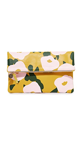 Clare V. Supreme Fold Over Clutch - Yellow/Blush Belle