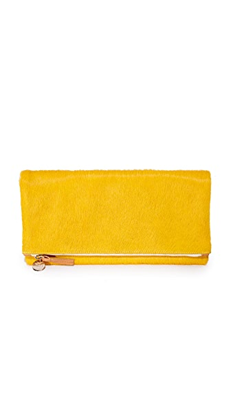 Clare V. Haircalf Fold Over Clutch - Yellow