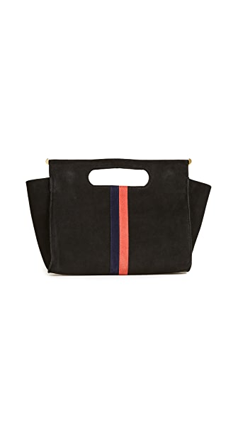 Clare V. Petite Maude Supreme Top Handle Bag In Black/Navy/Red