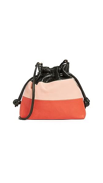 Clare V. Petit Henri Patchwork Bag In Loden/Blush/Poppy