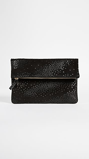 Clare V. Fold Over Clutch with Star Print