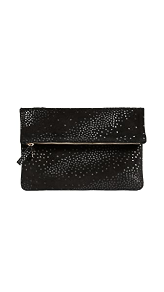 Clare V. Fold Over Clutch with Star Print In Black