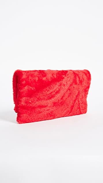 Clare V. Fold Over Shearling Clutch