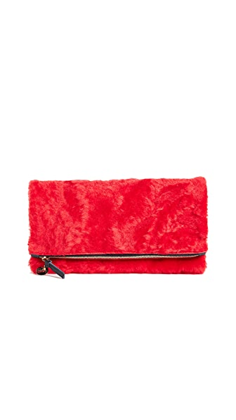 Clare V. Fold Over Shearling Clutch In Red